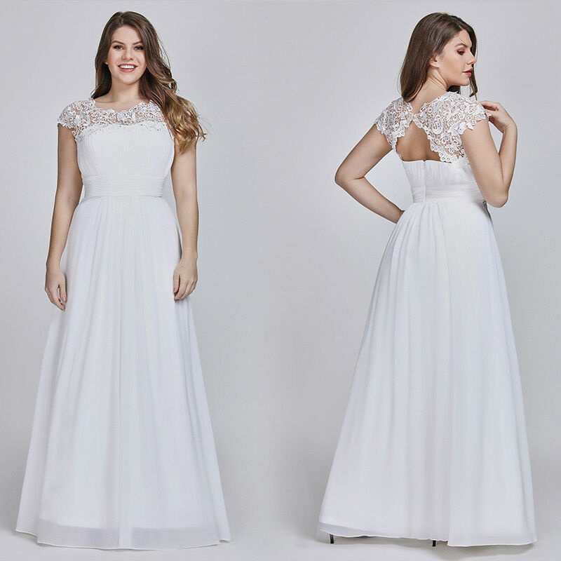 Ever-Pretty US Plus Size White Long Dresses Lace Bridesmaid Ball Prom Gown 09993