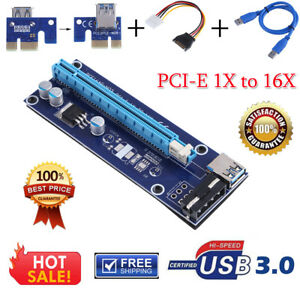 Molex-PCI-E-1x-to-16x-Extender-Adapter-Riser-Card-USB3-0-Data-Power-Cable-Kit