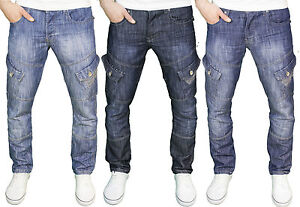 Crosshatch-Hombre-Combate-Cargo-Regular-pierna-recta-Jeans-Denim-cintura-28-48