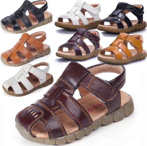 Baby Kids Boys Girls Summer Gladiator Soft Leather Flat Sandals Beach Shoes size