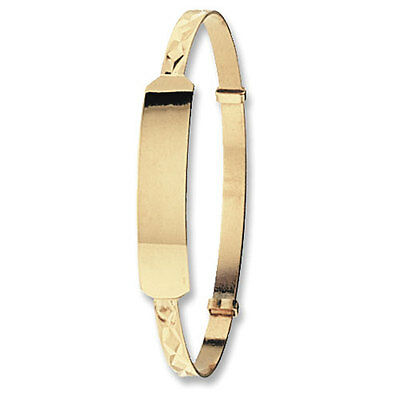 Hallmarked Solid 9ct Yellow Gold Expandable Baby/Kids ID Christening Bangle