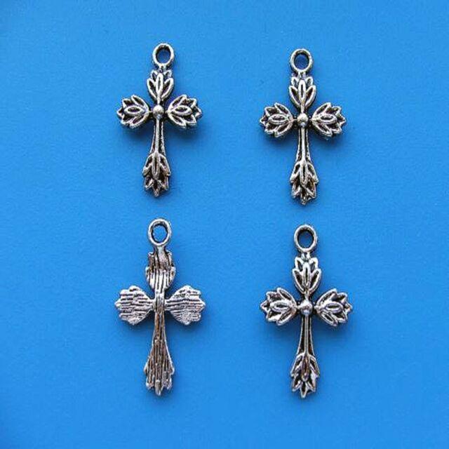 20 Tibetan Silver Cross Pendant Charms Antique Gothic