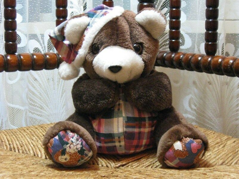 Europe Cute Bedtime braun Teddy Bear Plush w Sleeping Hat