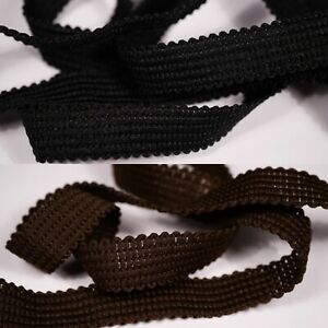 15mm black or peat brown bra strap strapping vintage scallop braid crafts sewing