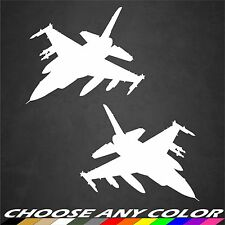 2 USAF F-16 Aircraft Stickers Profile Military Vinyl Graphics Decal Sticker Car