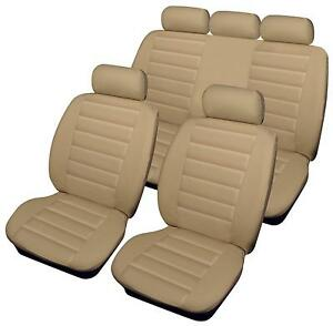 Vauxhall Vectra Full Set Luxury BEIGE//BLACK Leather Look Car Seat Covers