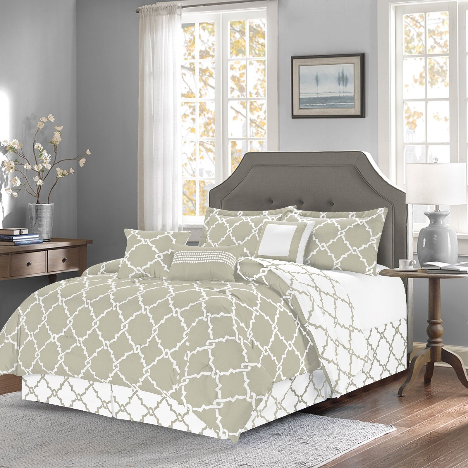 7-Piece Reversible Geometric Galaxy Comforter Set OverGrößed All Größes - Taupe