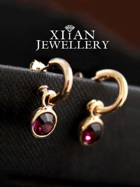 18K Rose Gold GP Classical Hoop Diamond Wine Red Crystal Drop Earrings E648