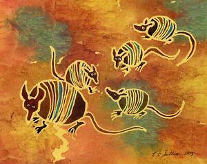 "Armadillos Matted 8/""X10/"" Print of Watercolor Painting E C Sullivan Art"