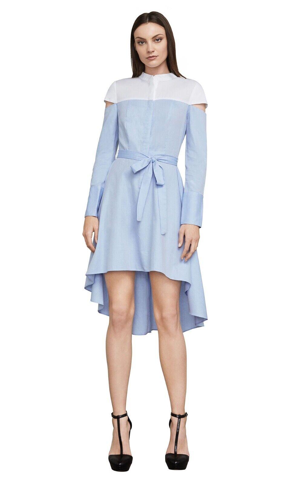 NEW RUNWAY BCBG MAXAZRIA Leandra Cut Out Farbeblock Shirt Dress XS,S