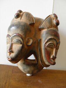 ancien-Masque-africaine-Baoule-masque-jumeaux-de-cote-d-039-ivoire