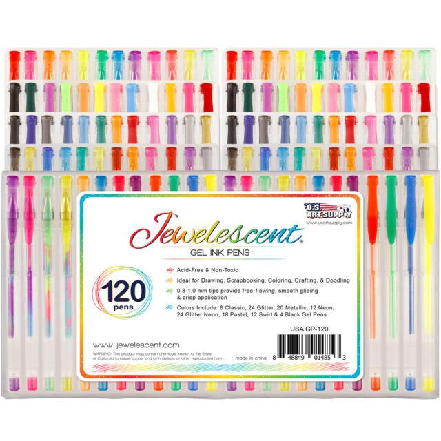 US Art Supply Jewelescent 120pc Gel Pen Set Classic Glitter Metallic (60 Colors)