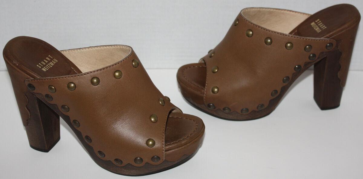 EUC Para Para Para Mujer Stuart Weitzman Sequoia marrón Diapositivas Tacones Zapatos Talla 8 M  Venta en línea de descuento de fábrica