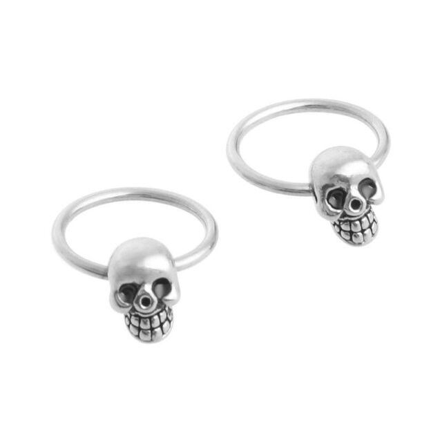 d5dd1f7fa Punk Rock Silver Stainless Steel Men's Skull Head Hoop Earrings Halloween  Gift