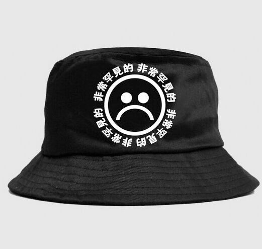 Bucket Hat Vintage Retro Japanese Chinese Letters Print Sad Face Emoji Brim Cap