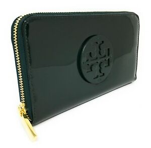 ab85ccb42519e Tory Burch Stacked Patent PVC Zip Continental Wallet - Jitney Green ...