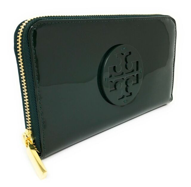 007f285e8891 Tory Burch Stacked Patent PVC Zip Continental Wallet - Jitney Green -  195  MSRP!