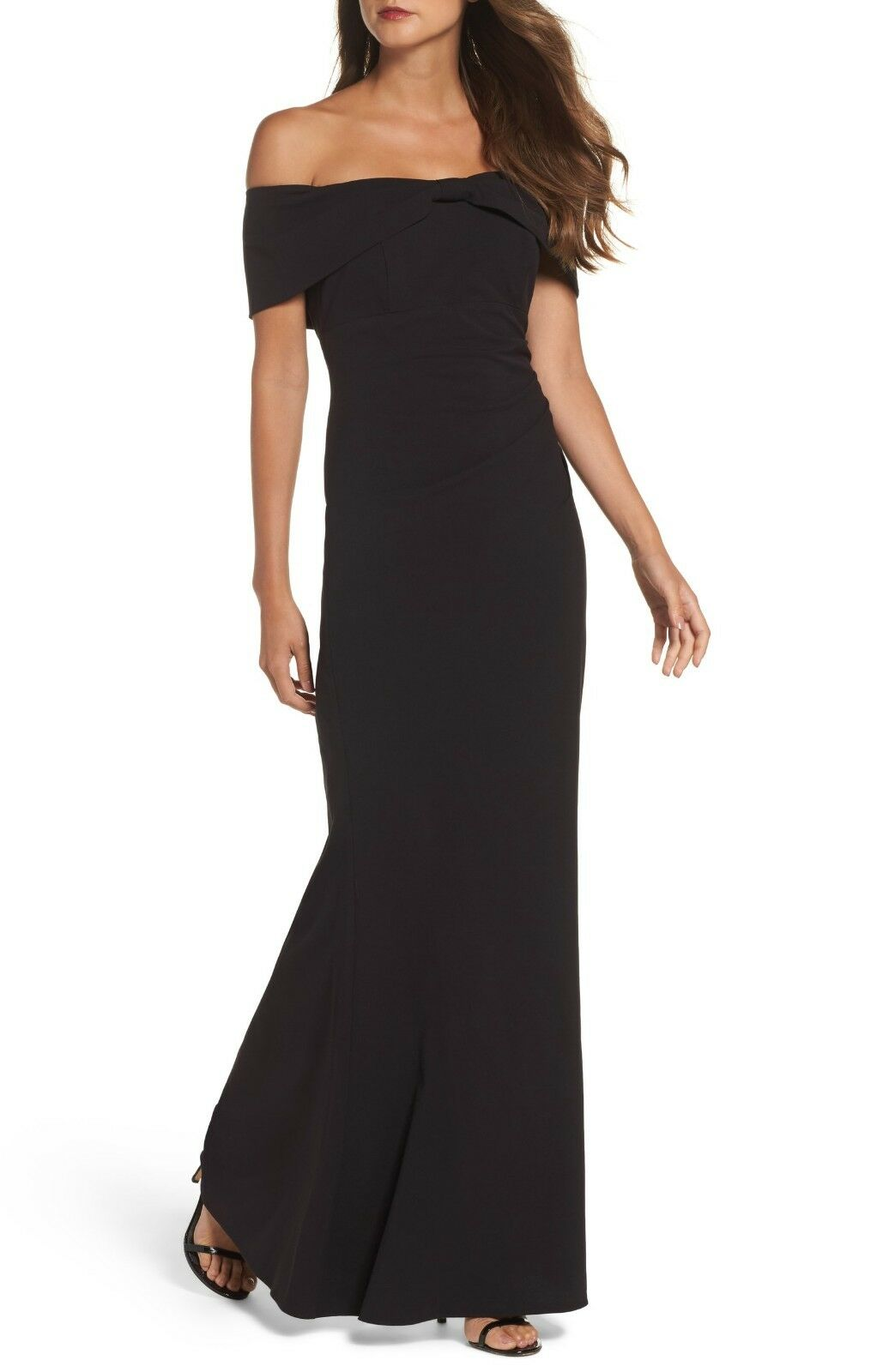 Eliza J Knot Front Off the Shoulder Gown Größe 10P, schwarz, Retail ,  IL1008