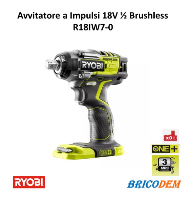 "Avvitatore ad impulsi Brushless a batteria 18V Ryobi R18IW7-0 leggero 1/2"""