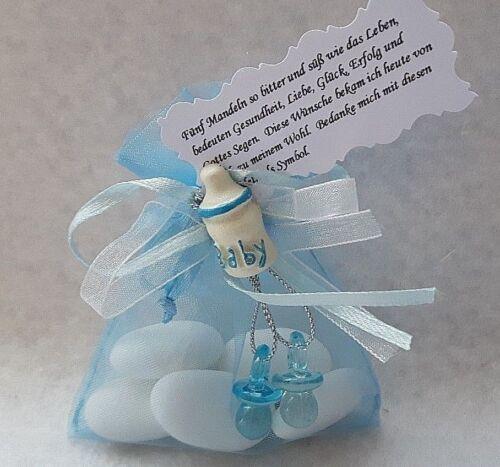 Gastgeschenke Taufe  Tischdeko Organzasäckchen blau Fläschen Mandeln und Spruch
