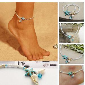 Summer Boho Starfish Anklet Beach Shell Ankle Bracelet Women Foot