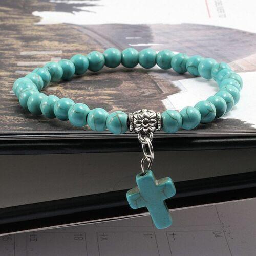 6 mm VINTAGE CROSS Stone beads bracelet charm Hommes Femme Bijoux Bracelets cadeau