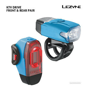 BLUE NEW Lezyne KTV DRIVE USB Rechargeable Bicycle Headlight Tail Light Pair