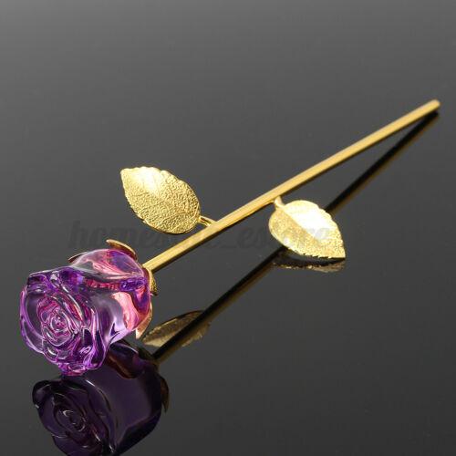 24K Gold Crystal Rose Dipped Flower Real Stem Romance Valentine/'s Day Girls