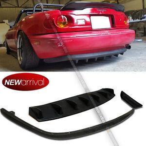Details about Fit 90-97 Miata Unpainted PU OE Style Rear Bumper Lip + Rear  Diffuser Combo