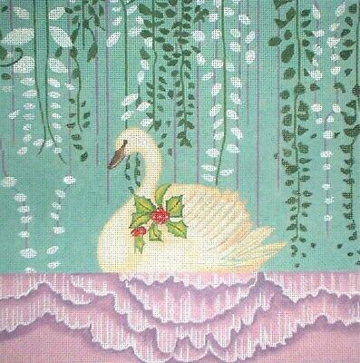 KWC 7022 Green Renaissance Angel Christmas HP Hand Painted Needlepoint Canvas