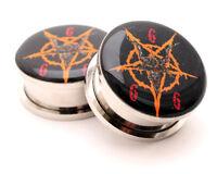 Pair Of Screw On Baphomet Pentagram Style 3 Picture Plugs Gauges