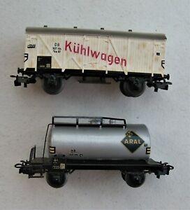 *3098* lot 2 wagons kuhlwagen, aral ,  marklin germany  HO