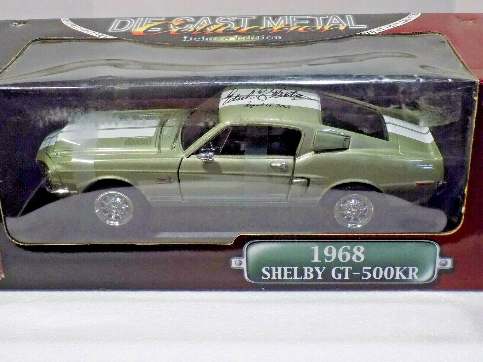 YAT MING 1 18 SCALE OLIVE GREEN 1968 SHELBY GT-500KR AUTOGRAPHED
