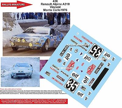DECALS 1//18 REF 1037 ALPINE RENAULT A310 BEAUMONT RALLYE MONTE CARLO 1976 RALLY