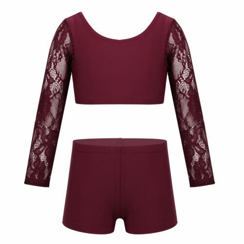 Girl Kids 2-Piece Sport Dance Outfit Crop Top+Booty Shorts Gym Leotard Dancewear