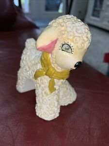 VINTAGE EASTER WHITE LAMB PLASTER FIGURINE WITH BOW