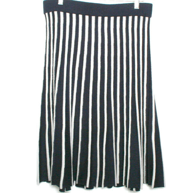 Pure Collection Navy bluee White Striped Silk Cashmere Skirt Large