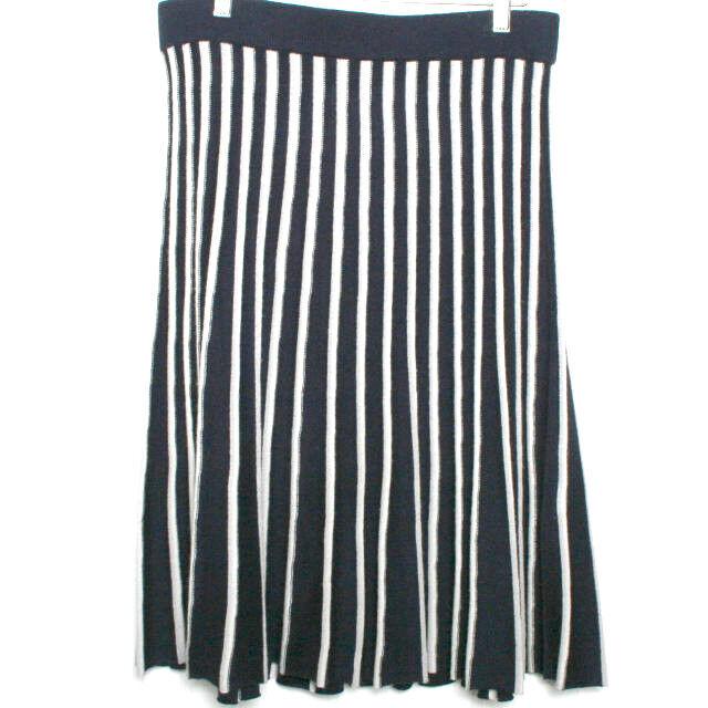 Pure Collection Navy Blau Weiß Striped Silk Cashmere Skirt Large
