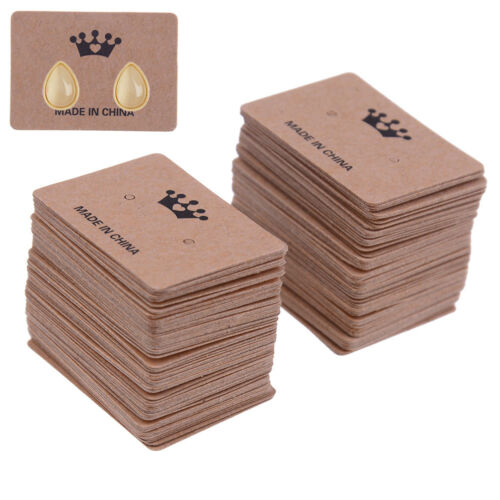 100Pcs kraft paper earring hanging card jewelry display ear stud holderpackageFY