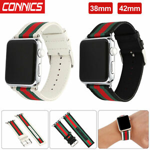 Sport-Nylon-Stripe-amp-Leather-Wrist-Band-Strap-for-Apple-Watch-Series-1-2-3-4