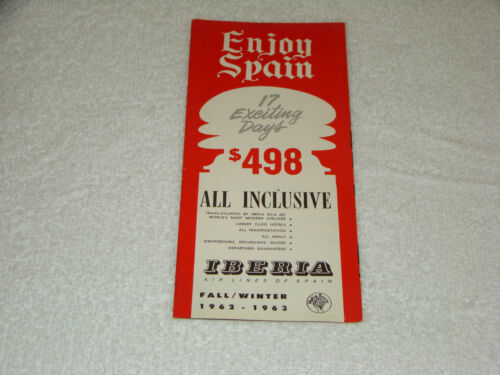 1962 1963 Enjoy Spain Iberia Airlines Travel Brochure Pamphlet Tour Prices