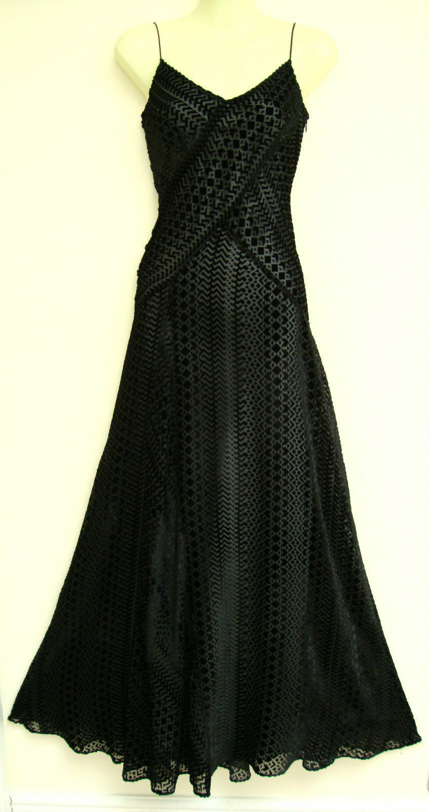 MONSOON SABINA Nero Maxi Lunga DEVORE Cocktail Cocktail Cocktail Prom Dress 10 19c128