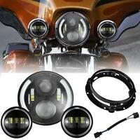 7 Led Daymaker Headlight + Passing Lights For Harley Davidson Softail Road King
