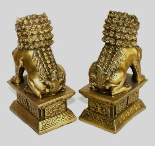 "Chinese Bronze Brass Guardian Foo Fu Dog Phylactery Door Lion Pair Statue 6.5/"""