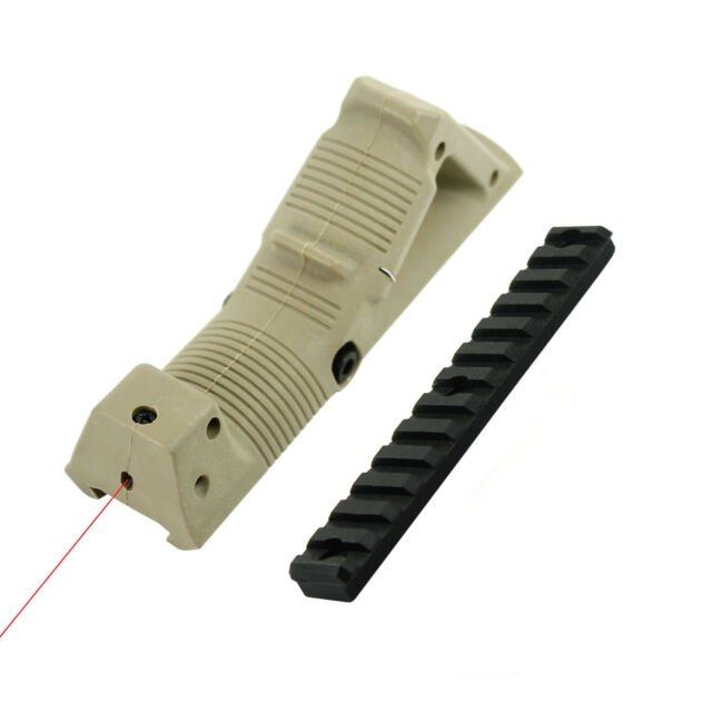 Angled Foregrip Front Grip with Red Laser for Picatinny / Keymod Handguard - Tan