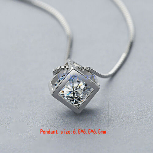 Véritable 925 Argent sterling zircon cubique collier pendentif charme Bijoux Déclaration Chaîne