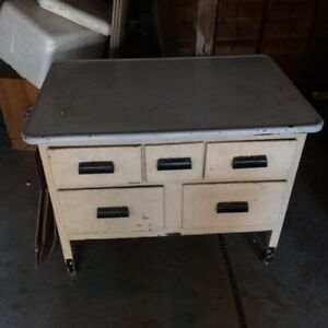 Details about Kitchen Maid Vintage / Antique Enamel Top Bakers Table white  and black