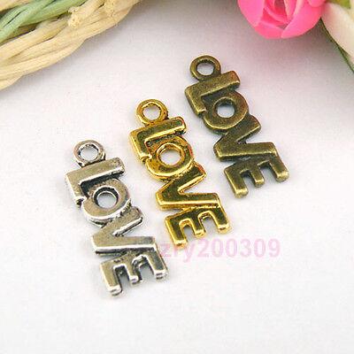 20Pcs Tibetan Silver,Antiqued Gold,Broze Love Charms Pendants DIY  M1106