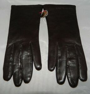 VTG-NOS-Brown-Leather-Tailored-Gloves-Acrylic-Lined-Size-6-5