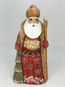 Russian Hand Carved Painted Wooden Wood Santa Claus